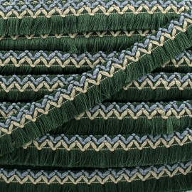 Jamayca weaved braid fringe ribbon - multi green x 1m