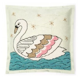 Embroidery kit Rico Design cushion - Swan
