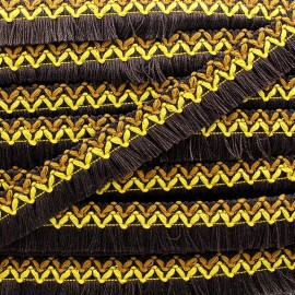 Jamayca weaved braid fringe ribbon - multi brown x 1m