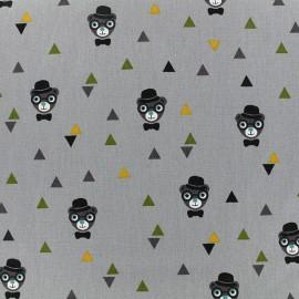 Poppy cotton fabric Grizzlybeers - grey x 10cm