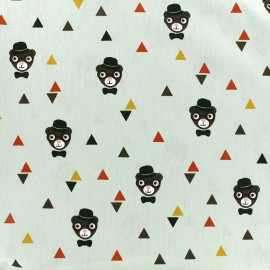 Poppy cotton fabric Grizzlybeers - seagreen x 10cm