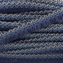 Galon tissé à franges Jamayca - multi bleu marine x 1m