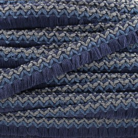 Jamayca weaved braid fringe ribbon - multi navy blue x 1m