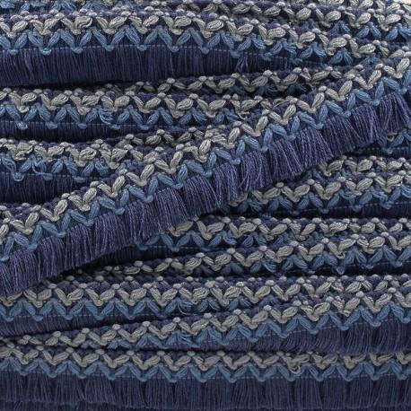 Jamayca weaved braid fringe ribbon - multi navy blue x 1m