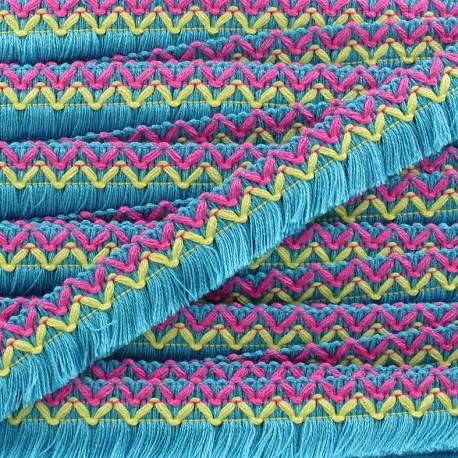 Jamayca weaved braid fringe ribbon - blue x 1m
