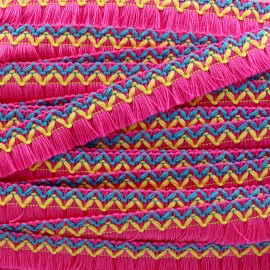 Jamayca weaved braid fringe ribbon - pink x 1m