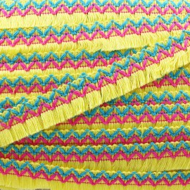 Jamayca weaved braid fringe ribbon - yellow x 1m