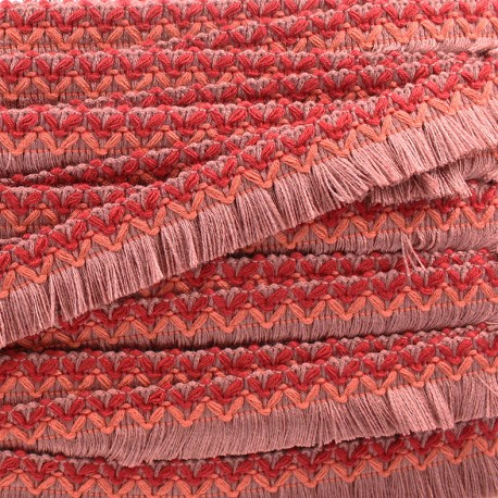 Jamayca weaved braid fringe ribbon - red x 1m