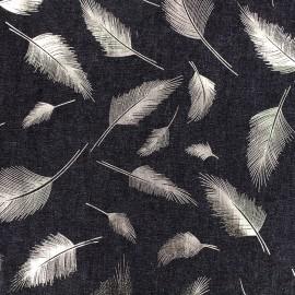 Tissu Jeans fluide Shiny Feathers - noir x 10cm