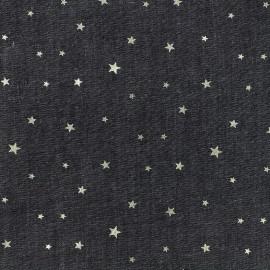 Tissu Jeans fluide Shiny Stars - noir x 10cm