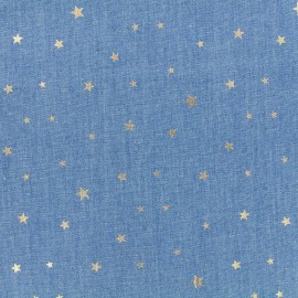 Tissu Jeans fluide Shiny Stars - bleu x 10cm