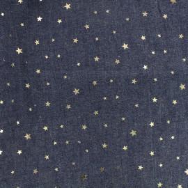 Tissu Jeans fluide Shiny Stars - bleu nuit x 10cm