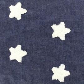 Fluid denim fabric Soft Stars - bleu nuit x 10cm