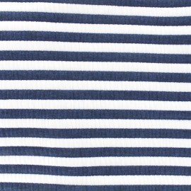 Quilted jersey fabric Matelot - blue x 10cm