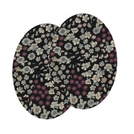 Elbow-pads/Knee-pads Iron On Flowers FrouFrou - Black