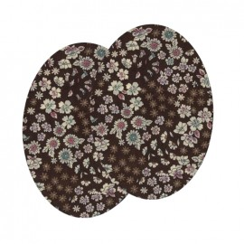 Elbow-pads/Knee-pads Iron On Flowers FrouFrou - Chocolat