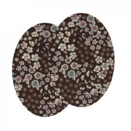 Genouillères-coudières thermocollants Fleuri FrouFrou - Chocolat