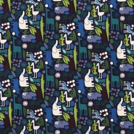 Tissu Alexander Henry 2-d zoo - bleu x 10cm