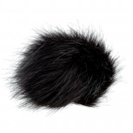 Round-shaped Fur Imitation Pompom - Black