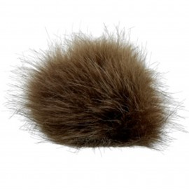 Round-shaped Fur Imitation Pompom - Brown