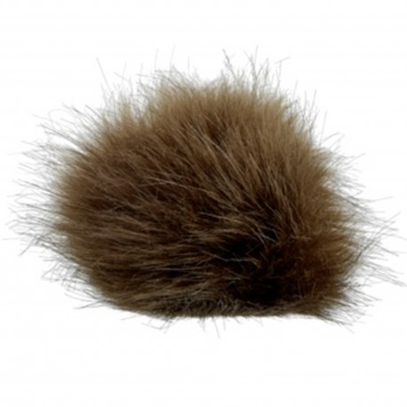 Round-shaped Fur Imitation Pompom - Brown
