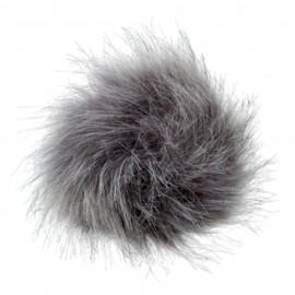 Pompon rond imitation fourrure - Gris