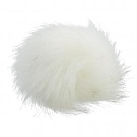 Pompon rond imitation fourrure - Blanc