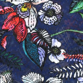 Muslin Fabric Garden - navy x 50cm