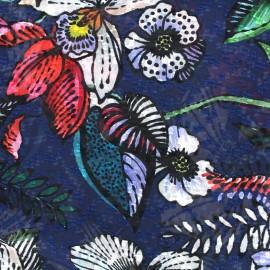 Tissu mousseline Tropical garden - marine x 50cm