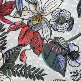 Tissu mousseline Tropical garden - blanc x 50cm