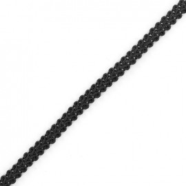 Mini Ear of Wheat Braid Trimming Ribbon 5mm  x 1 m - Black