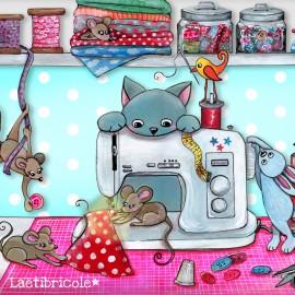 ♥ Coupon 35 cm X 26 cm ♥ polyester Oeko-tex Laëtibricole - L'atelier et les animaux