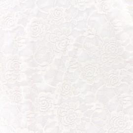Tissu Dentelle élasthane Fleur - écru x 10cm