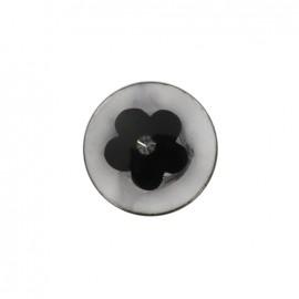 Bourgeon brillant polyester button - black