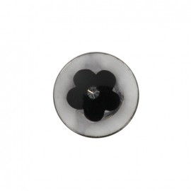 Bouton polyester Bourgeon brillant - noir