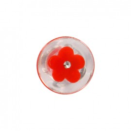 Bouton polyester Bourgeon brillant - rouge