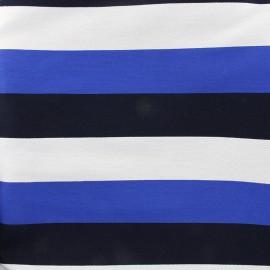 Tissu jacquard viscose rayé - bleu x 10cm
