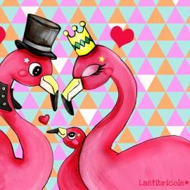 Laëtibricole polyester fabric - Flamingos