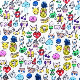 Tissu coton Rico Design Minois - multicolore x 10cm