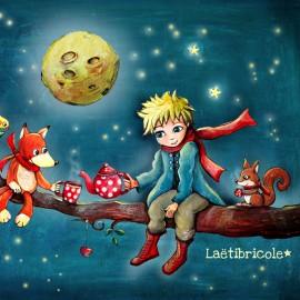 Coupon polyester Oeko-tex Laëtibricole - Thé nocturne de l'enfant et du renard