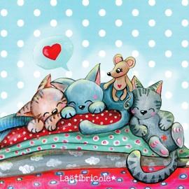 ♥ Coupon  35 cm X 26 cm  ♥ polyester Oeko-tex Laëtibricole - 3 p'tits chats