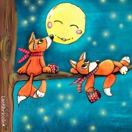 Toile polyester Oeko-tex Laëtibricole - Les renards au clair de lune