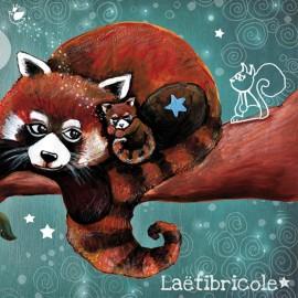 Toile polyester Oeko-tex Laëtibricole - Panda roux sur la branche