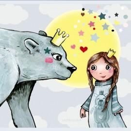 ♥ Coupon de tissu 35 cm X 24 cm ♥ polyester Laëtibricole - Ours polaire et fillette
