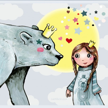Laëtibricole polyester fabric - Polar bear and little girl