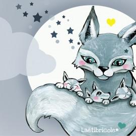 Toile polyester Oeko-tex Laëtibricole - La louve et ses petits