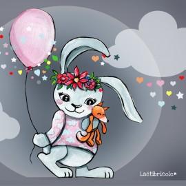 ♥ Coupon de tissu 34 cm X 26 cm ♥ polyester Laëtibricole - Lapin fleurette