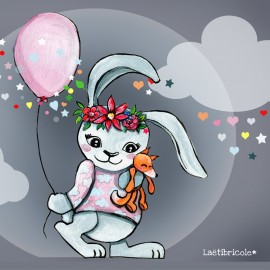 Laëtibricole polyester fabric - Rabbit and floret flowers