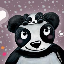 Coupon polyester Oeko-tex Laëtibricole - Maman panda et son petit