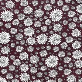 Poplin cotton fabric Pretty flower - lie de vin x 10cm